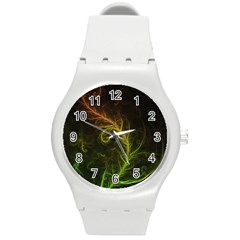 Fractal Hybrid Of Guzmania Tuti Fruitti and Ferns Round Plastic Sport Watch (M)