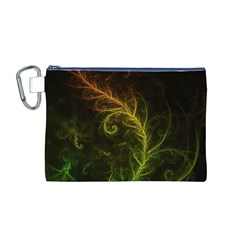 Fractal Hybrid Of Guzmania Tuti Fruitti and Ferns Canvas Cosmetic Bag (M)