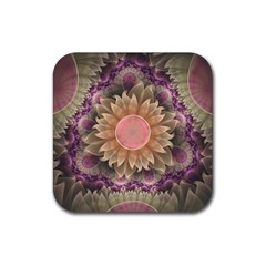 Pastel Pearl Lotus Garden of Fractal Dahlia Flowers Rubber Square Coaster (4 pack)
