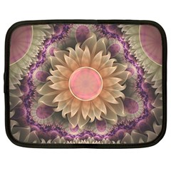 Pastel Pearl Lotus Garden of Fractal Dahlia Flowers Netbook Case (Large)