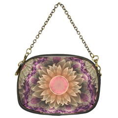 Pastel Pearl Lotus Garden Of Fractal Dahlia Flowers Chain Purses (two Sides)