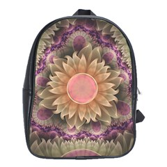 Pastel Pearl Lotus Garden of Fractal Dahlia Flowers School Bags(Large)