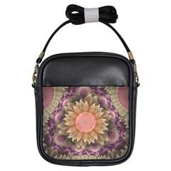 Pastel Pearl Lotus Garden of Fractal Dahlia Flowers Girls Sling Bags