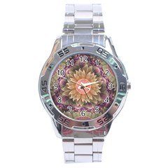 Pastel Pearl Lotus Garden of Fractal Dahlia Flowers Stainless Steel Analogue Watch
