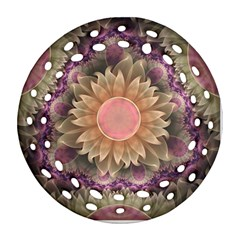 Pastel Pearl Lotus Garden of Fractal Dahlia Flowers Round Filigree Ornament (Two Sides)