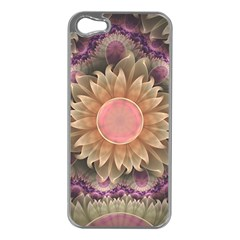 Pastel Pearl Lotus Garden of Fractal Dahlia Flowers Apple iPhone 5 Case (Silver)