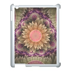 Pastel Pearl Lotus Garden of Fractal Dahlia Flowers Apple iPad 3/4 Case (White)