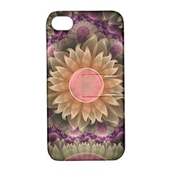 Pastel Pearl Lotus Garden of Fractal Dahlia Flowers Apple iPhone 4/4S Hardshell Case with Stand