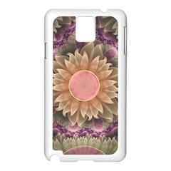 Pastel Pearl Lotus Garden of Fractal Dahlia Flowers Samsung Galaxy Note 3 N9005 Case (White)