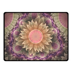 Pastel Pearl Lotus Garden of Fractal Dahlia Flowers Double Sided Fleece Blanket (Small)