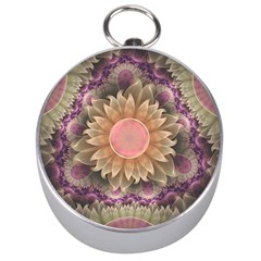 Pastel Pearl Lotus Garden of Fractal Dahlia Flowers Silver Compasses