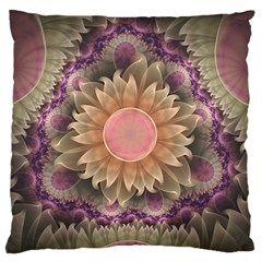 Pastel Pearl Lotus Garden of Fractal Dahlia Flowers Large Flano Cushion Case (One Side)