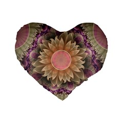 Pastel Pearl Lotus Garden of Fractal Dahlia Flowers Standard 16  Premium Flano Heart Shape Cushions