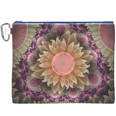 Pastel Pearl Lotus Garden of Fractal Dahlia Flowers Canvas Cosmetic Bag (XXXL)