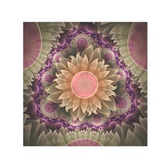 Pastel Pearl Lotus Garden of Fractal Dahlia Flowers Small Satin Scarf (Square)