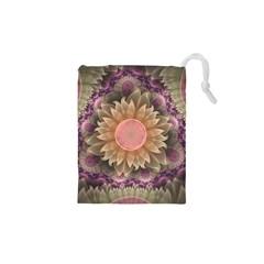 Pastel Pearl Lotus Garden of Fractal Dahlia Flowers Drawstring Pouches (XS)