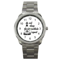 Eat, sleep, meditate, repeat  Sport Metal Watch