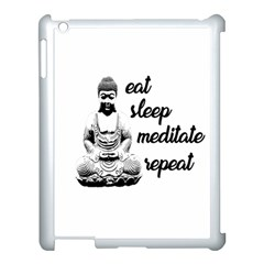 Eat, sleep, meditate, repeat  Apple iPad 3/4 Case (White)