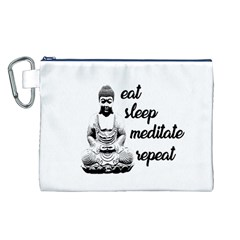Eat, sleep, meditate, repeat  Canvas Cosmetic Bag (L)