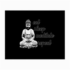 Eat, sleep, meditate, repeat  Small Glasses Cloth (2-Side)