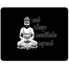 Eat, sleep, meditate, repeat  Double Sided Fleece Blanket (Medium)