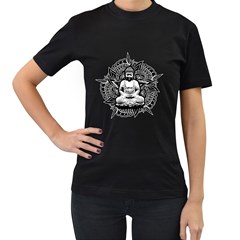Ornate Buddha Women s T-Shirt (Black) (Two Sided)