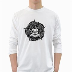 Ornate Buddha White Long Sleeve T-Shirts