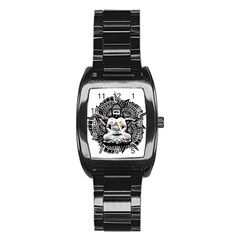 Ornate Buddha Stainless Steel Barrel Watch
