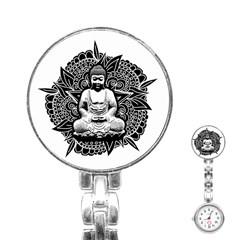 Ornate Buddha Stainless Steel Nurses Watch