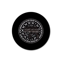 Ornate mandala elephant  Rubber Coaster (Round)