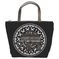 Ornate mandala elephant  Bucket Bags