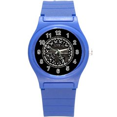 Ornate mandala elephant  Round Plastic Sport Watch (S)