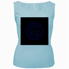 Ornate mandala elephant  Women s Baby Blue Tank Top
