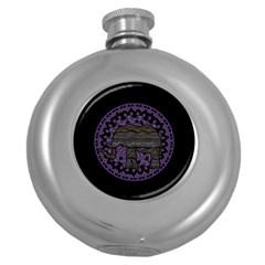 Ornate mandala elephant  Round Hip Flask (5 oz)