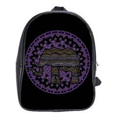 Ornate mandala elephant  School Bags(Large)