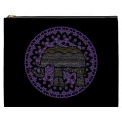 Ornate mandala elephant  Cosmetic Bag (XXXL)