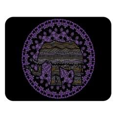 Ornate Mandala Elephant  Double Sided Flano Blanket (large)