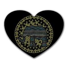 Ornate mandala elephant  Heart Mousepads
