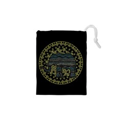Ornate mandala elephant  Drawstring Pouches (XS)