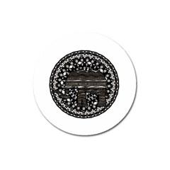 Ornate mandala elephant  Magnet 3  (Round)