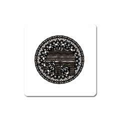 Ornate mandala elephant  Square Magnet
