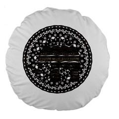 Ornate mandala elephant  Large 18  Premium Flano Round Cushions