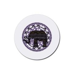 Ornate Mandala Elephant  Rubber Round Coaster (4 Pack)