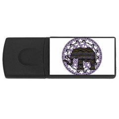 Ornate mandala elephant  USB Flash Drive Rectangular (2 GB)