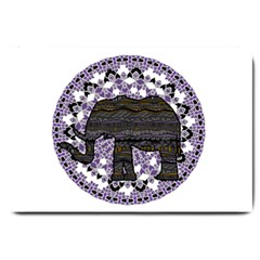 Ornate mandala elephant  Large Doormat