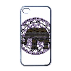 Ornate mandala elephant  Apple iPhone 4 Case (Black)