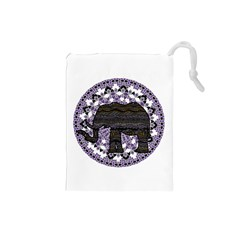 Ornate mandala elephant  Drawstring Pouches (Small)