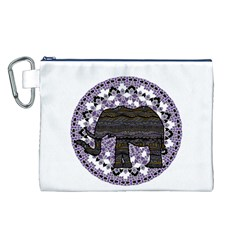 Ornate mandala elephant  Canvas Cosmetic Bag (L)