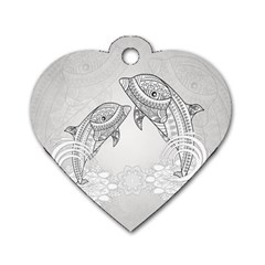 Beautiful Dolphin, Mandala Design Dog Tag Heart (One Side)