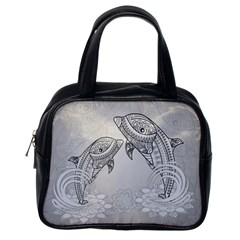 Beautiful Dolphin, Mandala Design Classic Handbags (One Side)